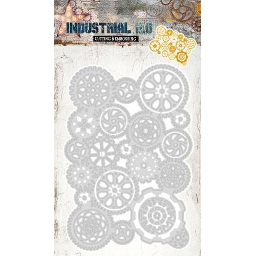 Embossing Die Cut Stencil Industrial 2.0 nr 66 STENCILIN66 115 x 200 mm (01-18)