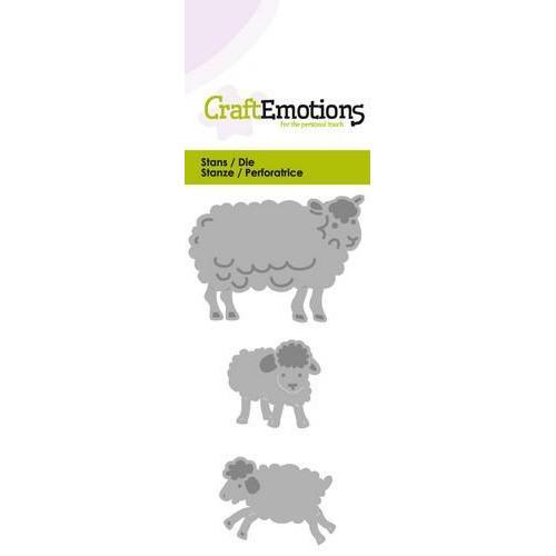 CraftEmotions Die -  schaap met lammetjes fantasie Card 5x10cm (new 01-18)