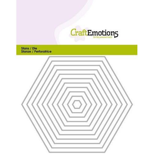 CraftEmotions Die - randen recht Hexagon Card 5x10cm (new 01-18)