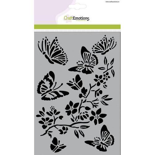 CraftEmotions Mask stencil - vlinders met bloesemtak A5  (new 01-18)