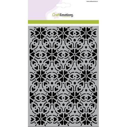 CraftEmotions Mask stencil - patroon ornament hart bloem A5  (new 01-18)