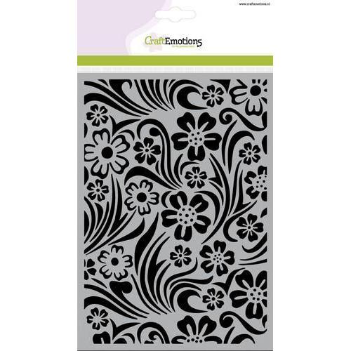 CraftEmotions Mask stencil - achtergrond bloem swirl blad A5  (new 01-18)
