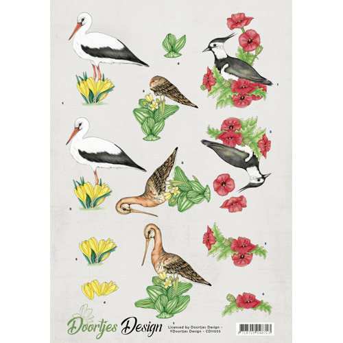 3D knipvel Doortjes Design - Meadow birds