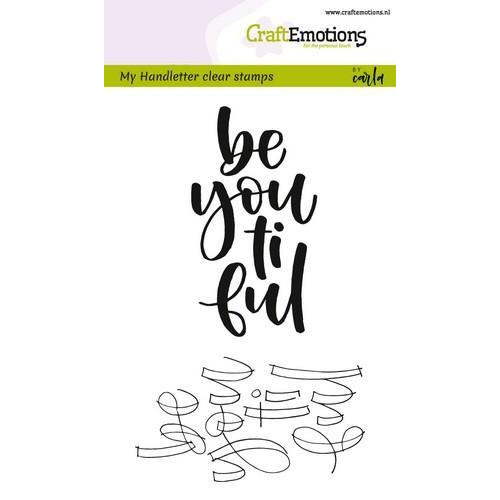 CraftEmotions clearstamps A6 -  handletter -  be you ti ful (Eng) (02-18)