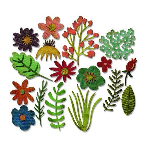 Sizzix Thinlits Die Set 15PK - Funky Floral 662700 Tim HoltzFeb-18