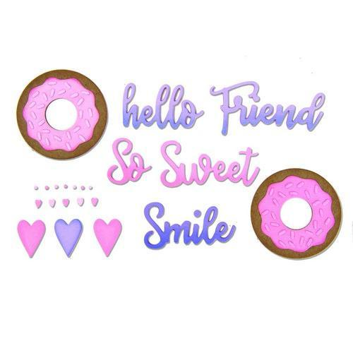 Sizzix Thinlits Die Set 9PK Phrases Sweet & Donut 662723 Jen Long (02-18)