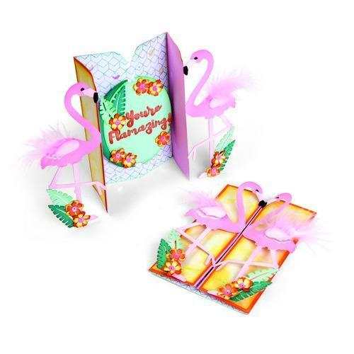 Sizzix Thinlits Die Set 12PK Card Flamingo Fold-a-Long 662726 Jen Long (02-18)