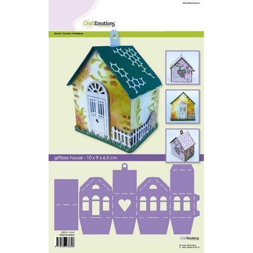 CraftEmotions stencil- giftbox huis 10x9,0x6,5cm (02-18)