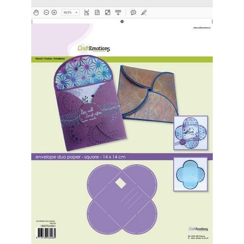 CraftEmotions stencil- envelop duo paper - vierkant 14x14cm (02-18)