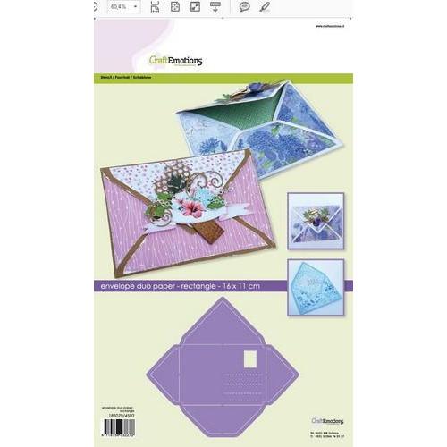CraftEmotions stencil- envelop duo paper - rechthoek 11x16cm (02-18)