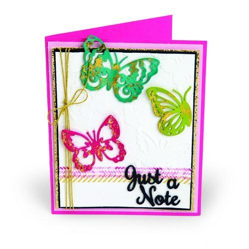 Sizzix Thinlits Die Set 6PK w/Text. Impre. Just a Note Butterflies 662753 Courtney Chilson (03-18)