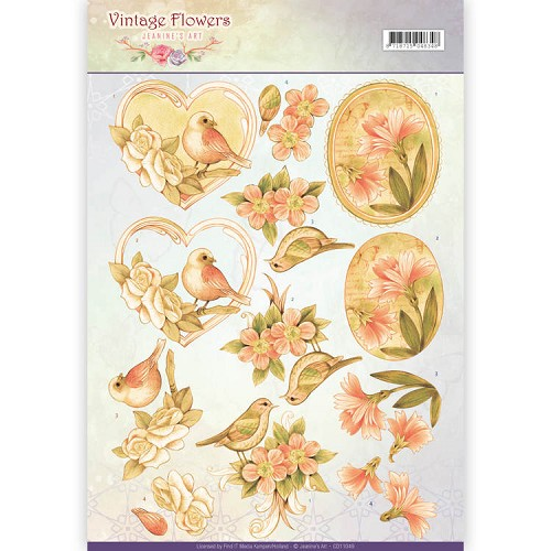 3D Knipvel - Jeanine`s Art - Vintage Flowers - Pale Vintage