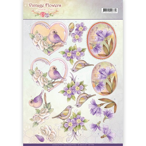 3D Knipvel - Jeanine`s Art - Vintage Flowers - Pale Violet