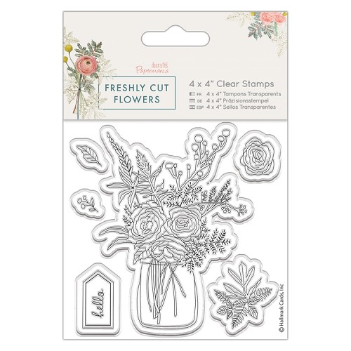 "4 x 4"" Clear Stamp - Freshly Cut Flowers - Flower Vase"