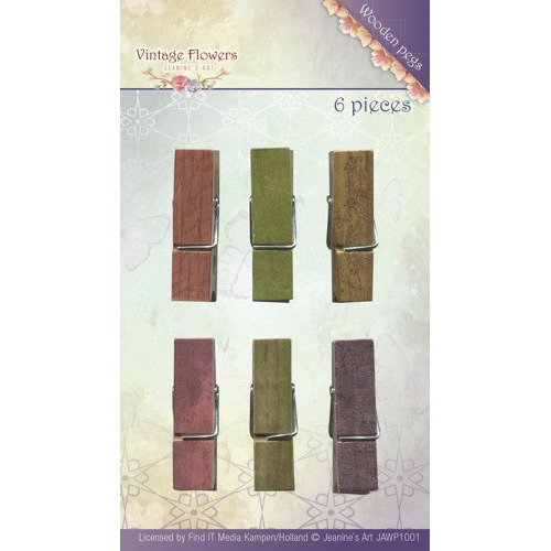 Jeanine`s Art - Vintage Flowers - Wooden Pegs
