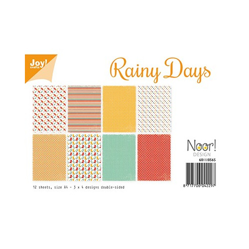 6011/0565 - Rainy Days,A4 - 12 sheets - 3 x 4 designs - bothside printed