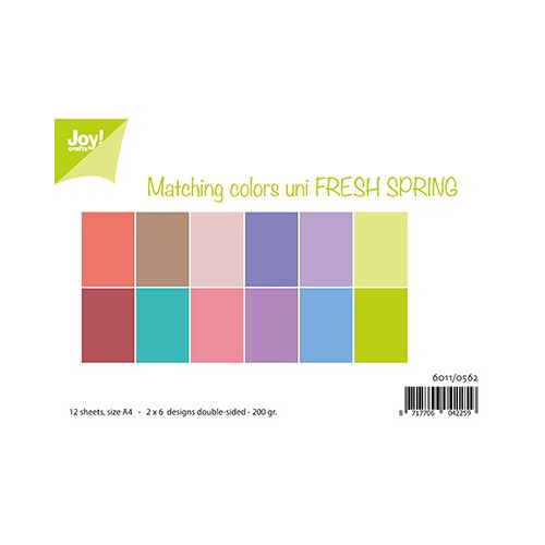 Matching Colors uni - Fresh Spring.A4 / 12 sheets-2x6 designs bothsided-200 gr