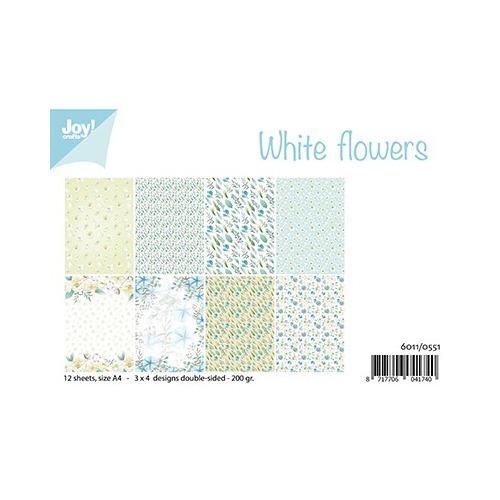 White Flowers,A4 / 12 sheets - 3x4 designs – 200 gr