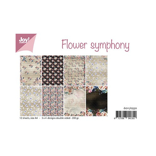 Flower Symphony,A4 / 12 sheets - 3x4 designs – 200 gr