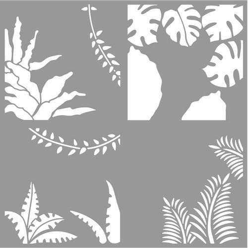 Pronty Mask stencil Layer Tropical leafs (4x) 470.850.00515x15cm (4x) (03-18)