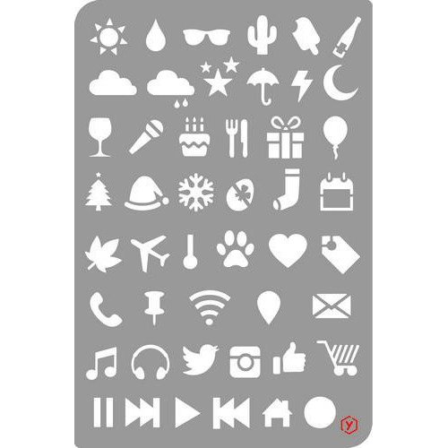 Pronty Bullet Journal Stencil  Icons 470.851.002 12x18cm (03-18)