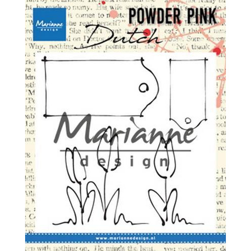 Marianne D Clear stamp P. Pink - Tulpen & labels PP2801 83x85 mm (04-18)