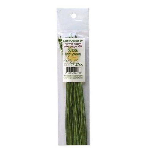LeCrea - Flower Foam paper wrapped wire # 28 50st l. green 27.4766 36cm (03-18)