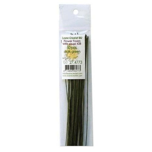LeCrea - Flower Foam paper wrapped wire #28 50st dark green 27.4773 36cm (03-18)