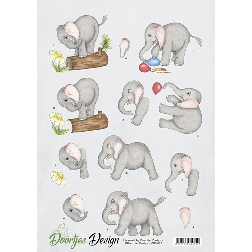 3D knipvel Doortjes Design - Elephants
