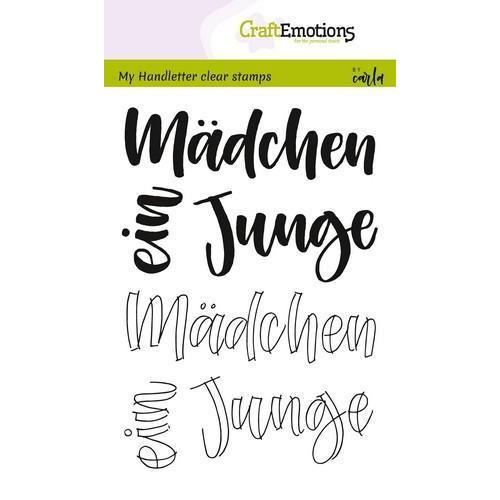 CraftEmotions clearstamps A6 - handletter - Mädchen, Junge (DE) (04-18)