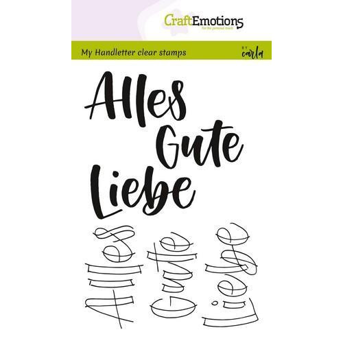 CraftEmotions clearstamps A6 - handletter - Alles Gute, Liebe(DE) (04-18)