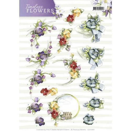 3D Knipvel - Precious Marieke - Timeless Flowers - Violets