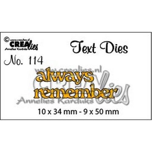 Crealiestekststans (Eng) nr. 114 always remember CLTD114 10x34 - 9x50mm (05-18)