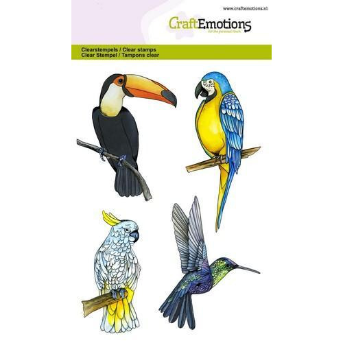 CraftEmotions clearstamps A6 - tropische vogels (04-18)