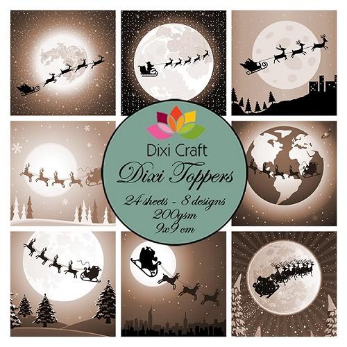 mini toppers set 9x9 cm christmas sleight sepia