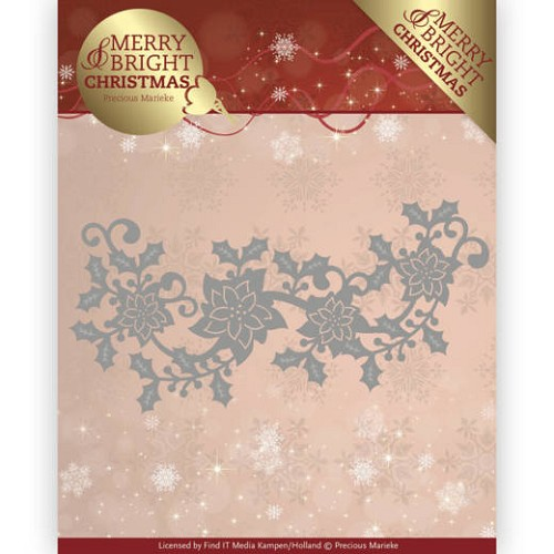 Dies - Precious Marieke - Merry and Bright Christmas - Poinsettia Border
