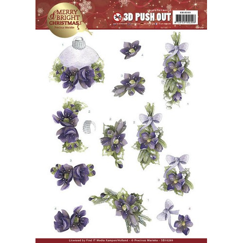 3D Push Out - Precious Marieke - Merry and Bright Christmas - Bouquets in Purple