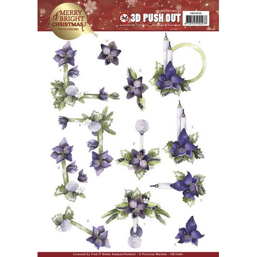 3D Push Out - Precious Marieke - Merry and Bright Christmas - Amaryllis in Purple