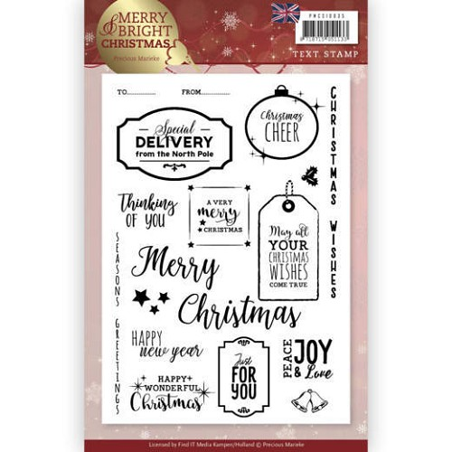 Clear Stamp - Precious Marieke - Merry and Bright Christmas - ENG