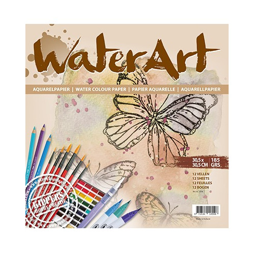 WaterArt Papier 12 sheets / 30.5 x 30.5cm / 185 grs