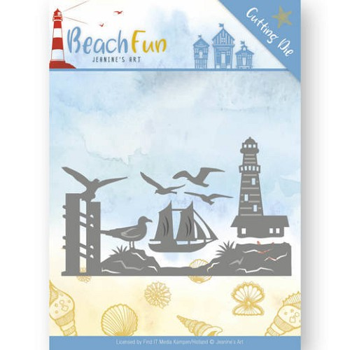 Dies - Jeanine`s Art - Beach Fun - Lighthouse Border