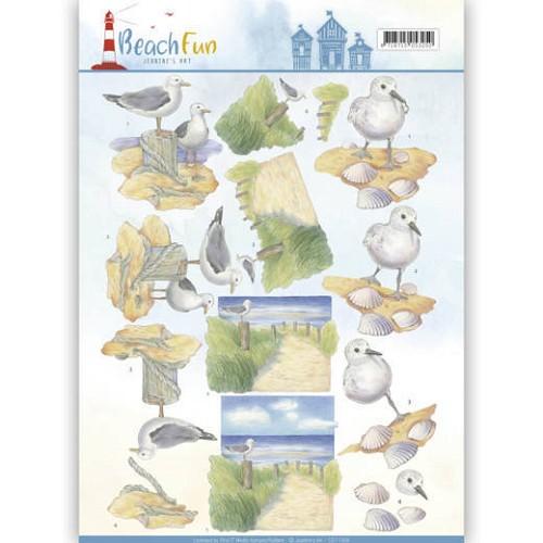 3D knipvel - Jeanine`s Art - Beach Fun - Seagulls