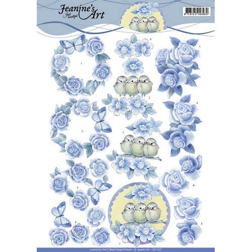 3D knipvel - Jeanine`s Art - Blue Roses