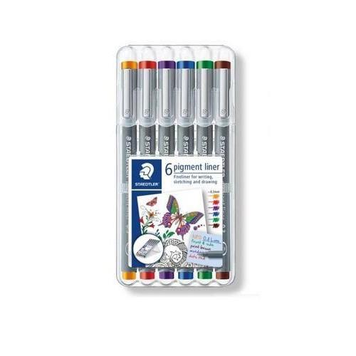 Staedtler pigment liner fineliner - Box 0,3 mm 6 kleuren 30803-SSB6