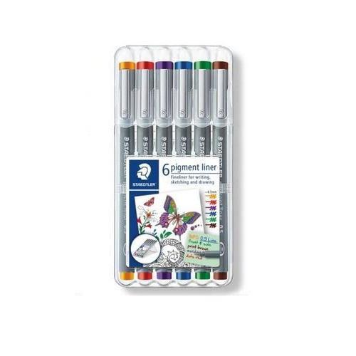 Staedtler pigment liner fineliner - Box 0,5 mm 6 kleuren 30805-SSB6