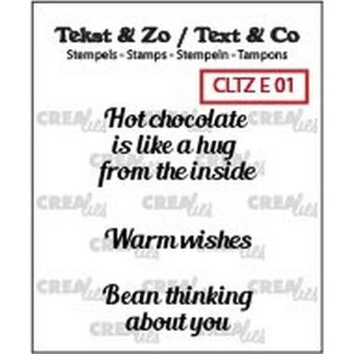 Crealies Clearstamp Tekst & Zo hot chocolate, warm wish(ENG) CLTZE01 (06-18)