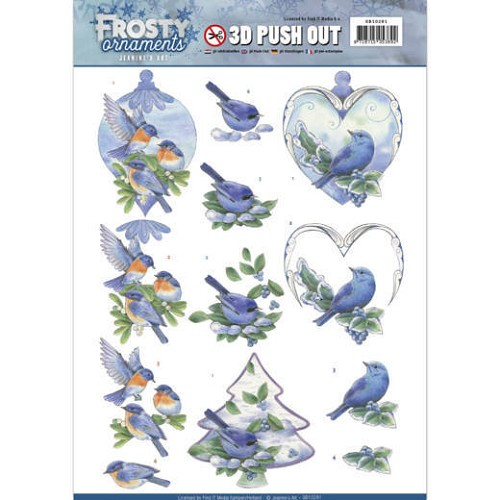 3D Push Out - Jeanine`s Art - Frosty Ornaments - Blue Birds
