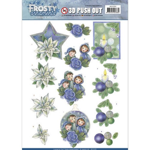 3D Push Out - Jeanine`s Art - Frosty Ornaments - Blue Ornaments