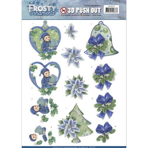 3D Push Out - Jeanine`s Art - Frosty Ornaments - Green Ornaments