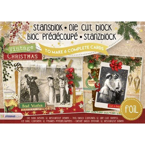 Studio Light Die cut blocs A5 folie 12 vel Vintage Christmas A5STANSBLOKSL14 (06-18)